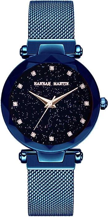 Mujer Relojes, Lananas Moda Starry Sky Cielo Estrellado Dial Diamond Cutting Tamaño Libre Correas de Malla Pulsera Reloj de Pulsera Women Watches Bracelet