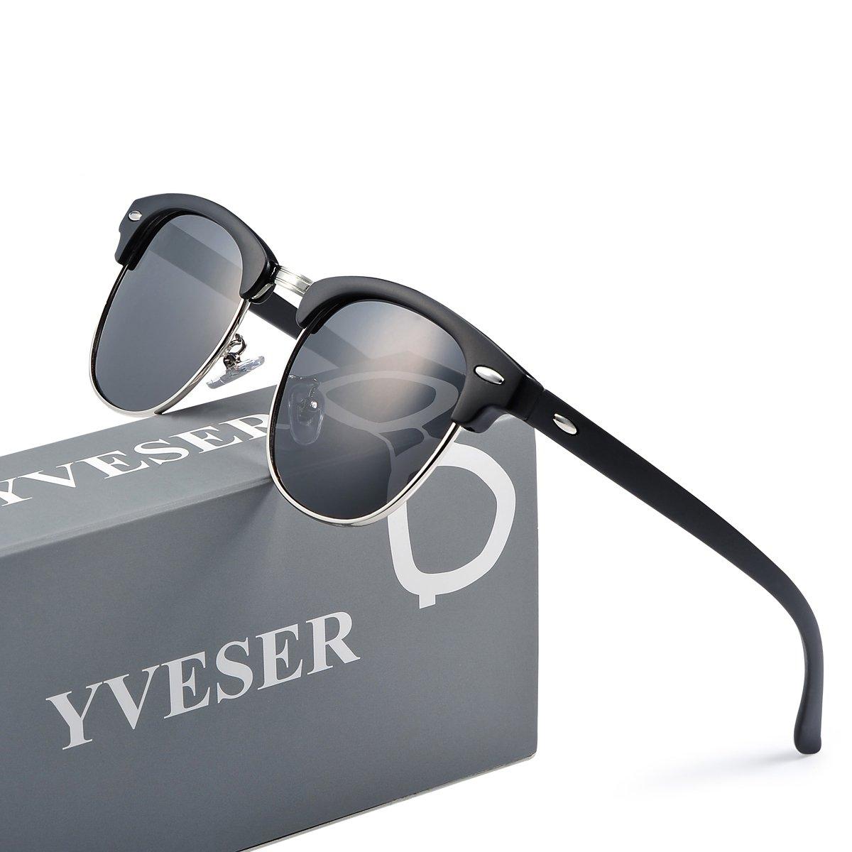 a08dee3b6858 Yveser Polarised Sunglasses for Mens and Womens Yv5156 (Black Lens Black  Matte Frame)  Amazon.co.uk  Clothing