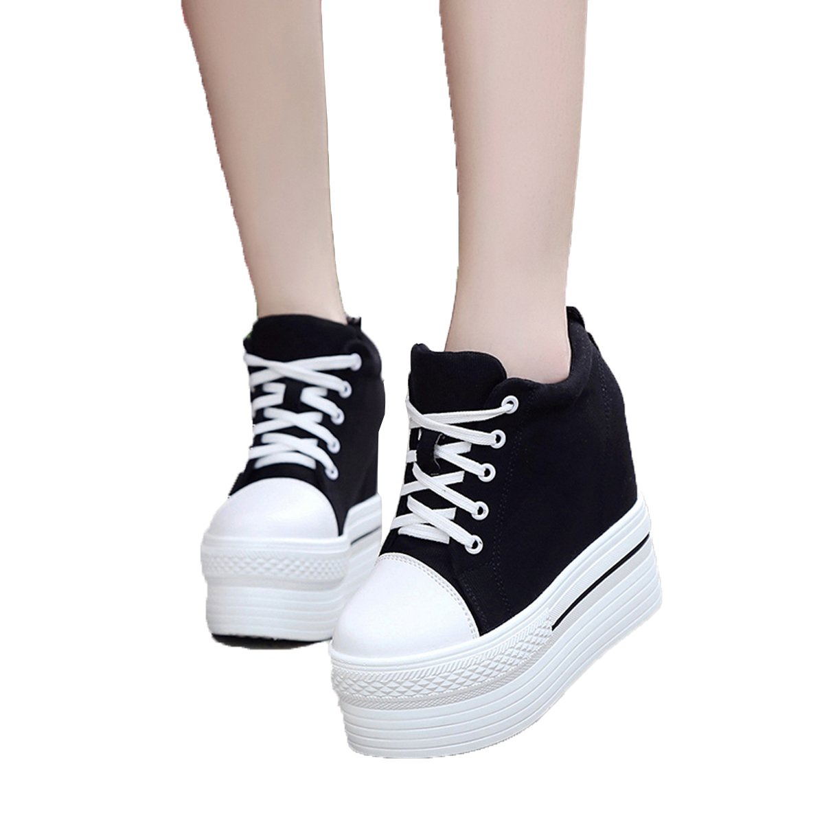 YC WELL Womens Wedge Platform Sneaker Flat Canvas Shoes Lace up Platform Sneakers B01L3JQ3SY 6.5 B(M) US|Black