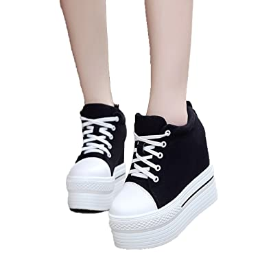 a0c59d96c6d YC WELL Womens Wedge Platform Sneaker Flat Canvas Shoes Lace Up Platform  Sneakers(Black