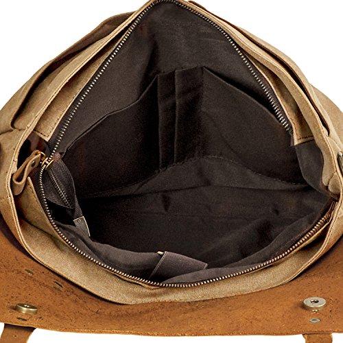 Bolsa de Mensajero, P.KU.VDSL Unisex Vintage Bolsos de Bandolera para Hombres Mujeres Mochila de Hombro para Ordenador Portátil Khaki