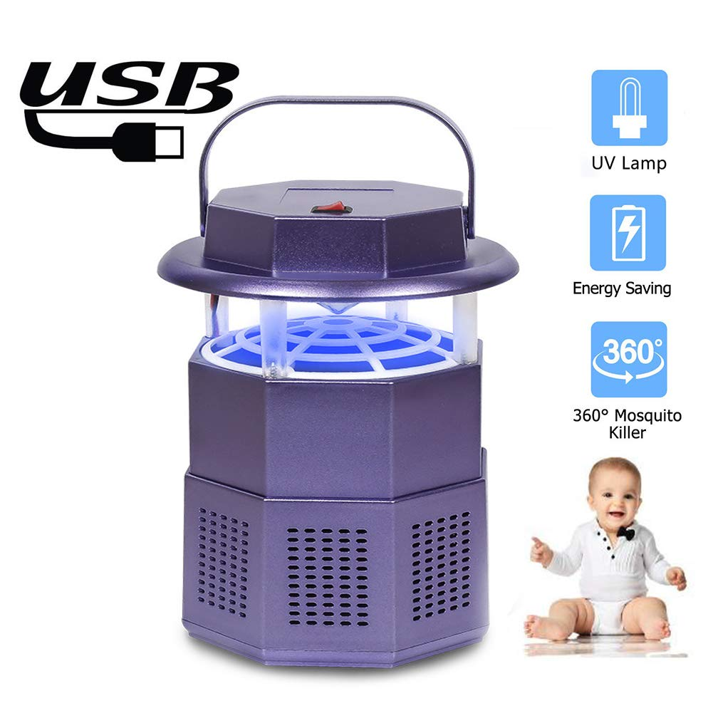 Purple Bug Zapper Light,Electronic Mosquito Killer Lamp UV Insect Killer Trap AntiMosquito Lamp UV Light for Indoor Home Baby Room Kitchen Office