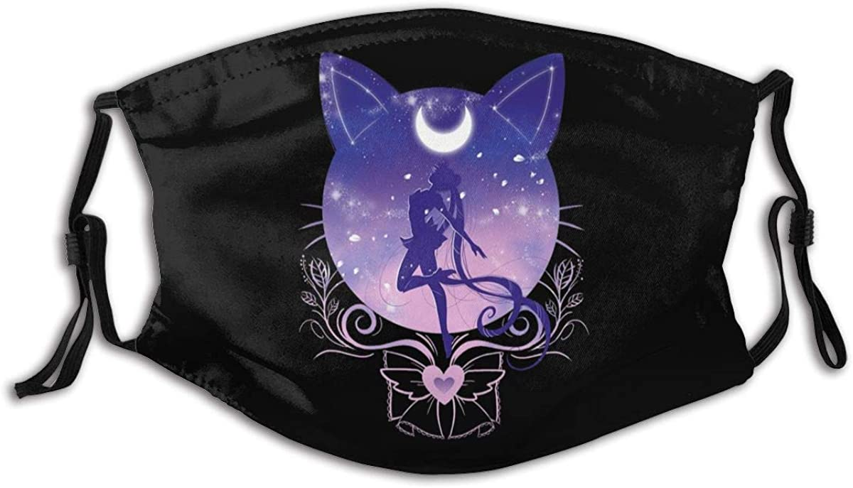 Cute Moon,Cat and Sailor Unisex Bandana Scarf Adjustable Face Mouth Cover with Activated Carbon Filter Face Shield