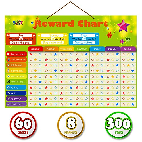 Magnetic Reward Behavior Star Chore Chart for One or Multiple Kids Includes 8 Markers  60 Foam Backing Illustrated Chores  300 Stars in Red Yellow Blue X Large 17X12 inch Hanging Loop Ready