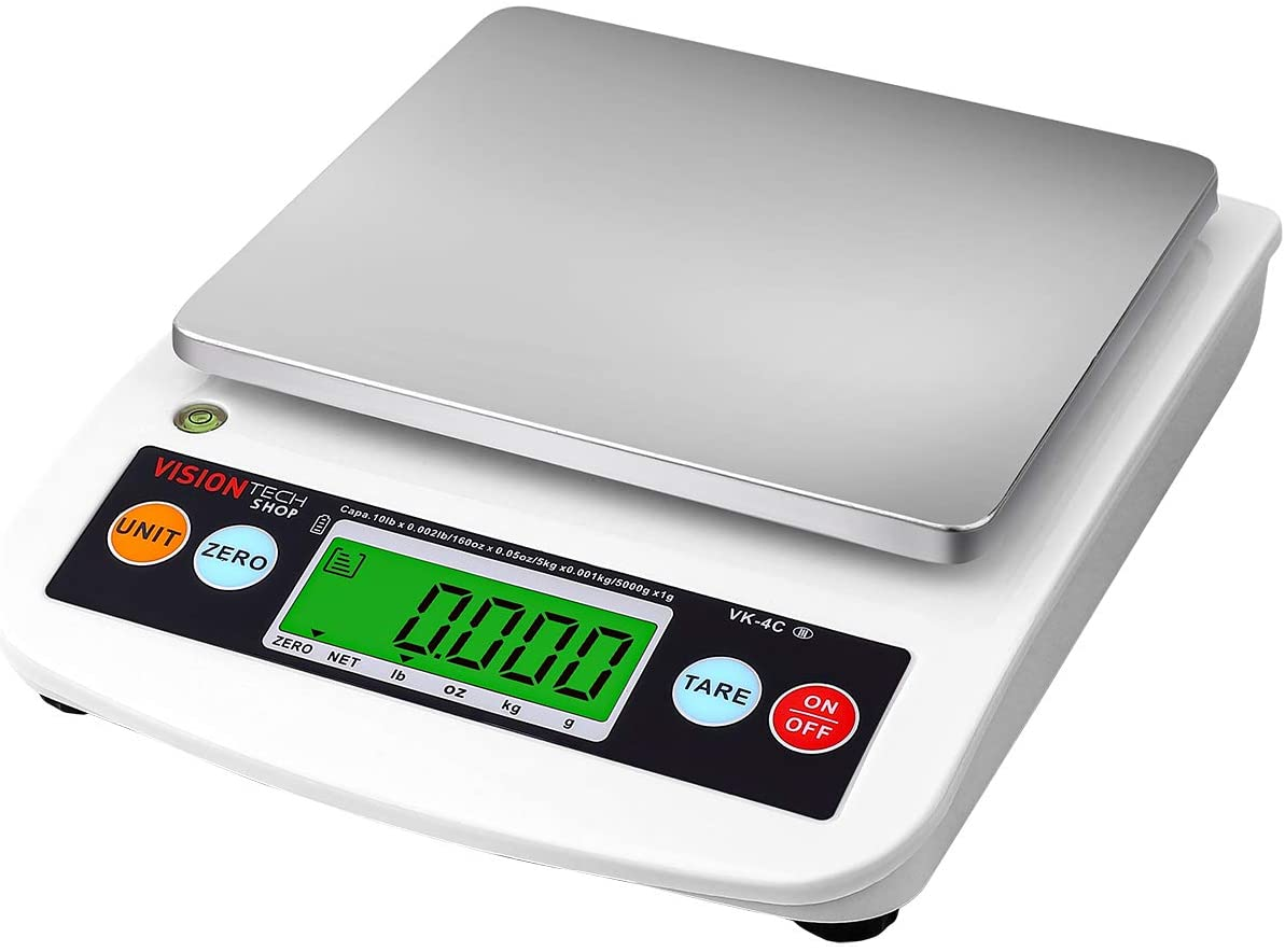 VisionTechShop VK-4C Digital Kitchen Scale, Lb/Oz/Kg/g Switchable, Stainless Steel Plate Food Scale, LCD Display with Backlight, 10lb Capacity, 0.002lb Readability