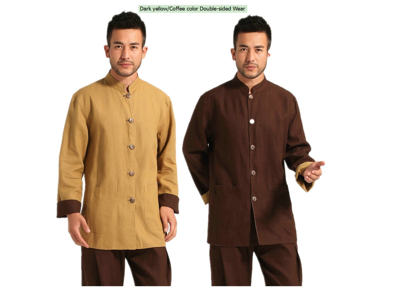100% fiber flax Tang Suits Double-sided Wear Retro Jackets Business Jackets