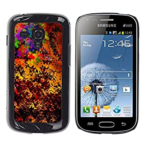 QCASE / Samsung Galaxy S Duos S7562 / saisons d'automne colorés art de feuilles de peinture / Delgado Negro Plástico caso cubierta Shell Armor Funda Case Cover