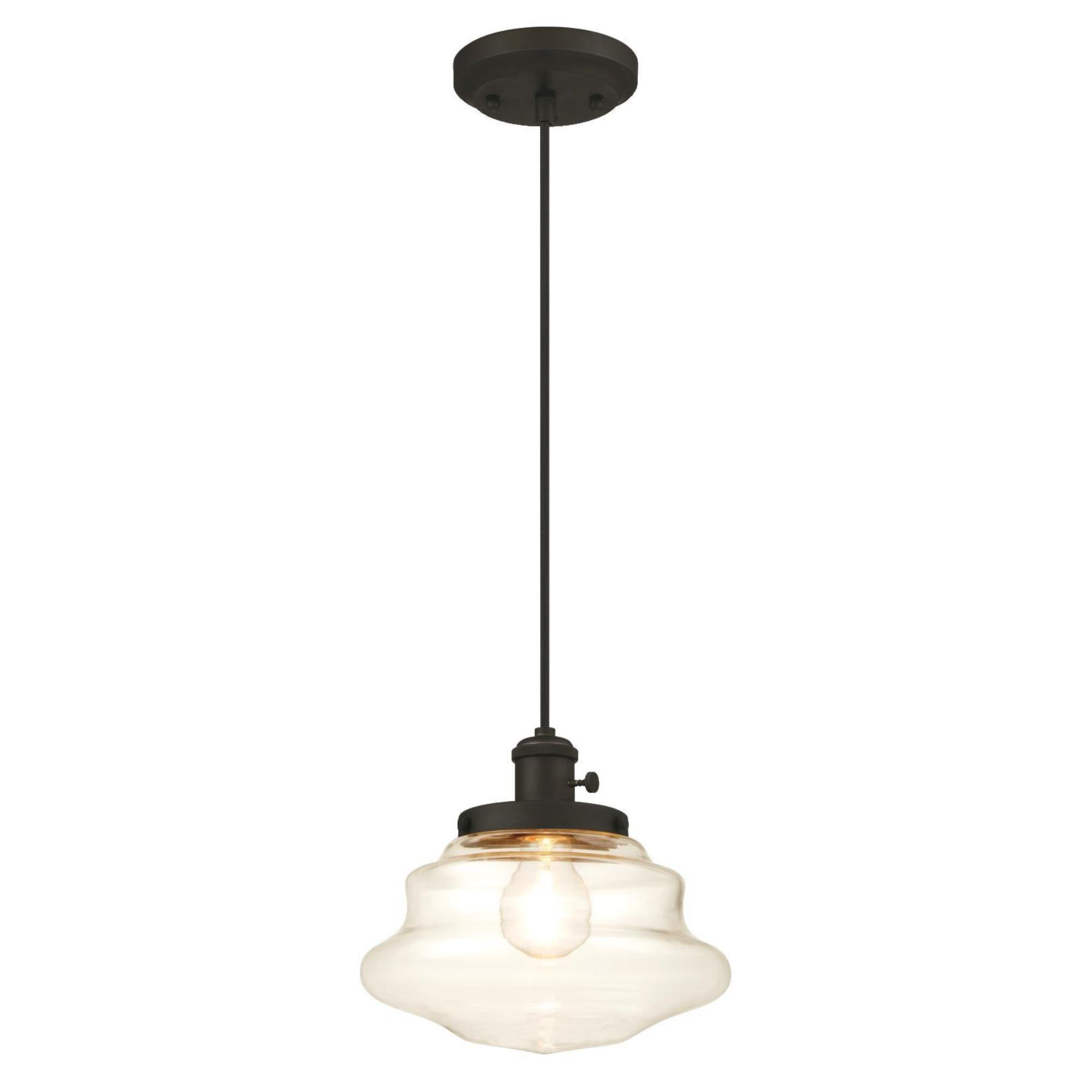 Westinghouse 6346000 One-Light Mini Pendant with Clear Glass, Oil Rubbed Bronze