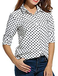 Meaneor Women's Long Sleeve Polka Dot Casual Loose Button Down Shirt