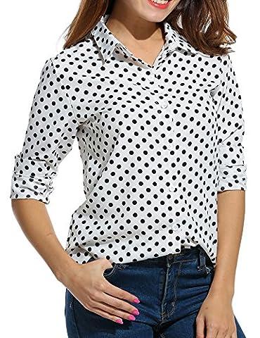 SE MIU Women's Chiffon Long Sleeve Button Office Blouse Polka Dot Casual Top Shirts (Long Sleeve Office)