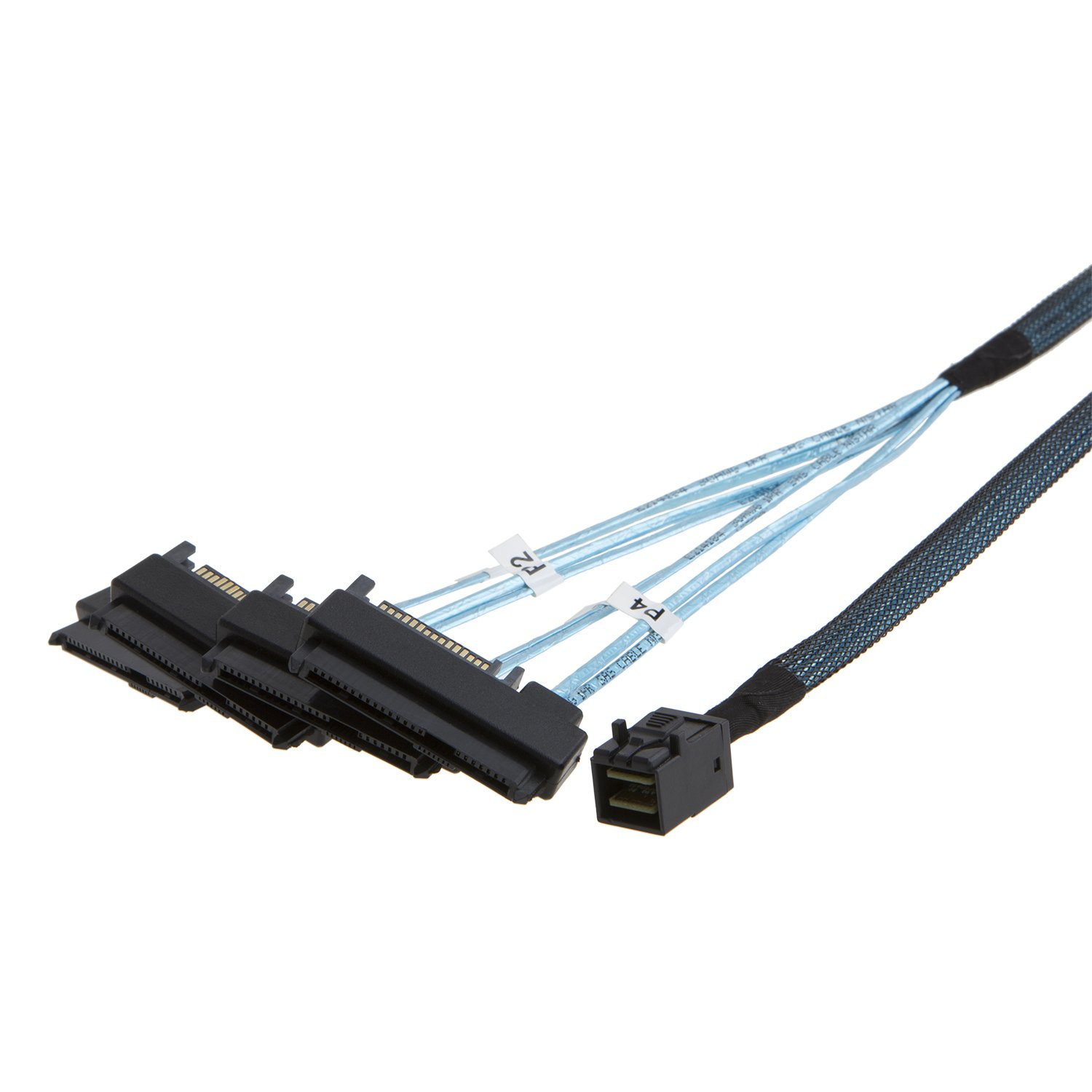 CableCreation Internal Mini SAS SFF-8643 to (4) 29pin SFF-8482 connectors with SAS 15pin Power Port, 0.5M …