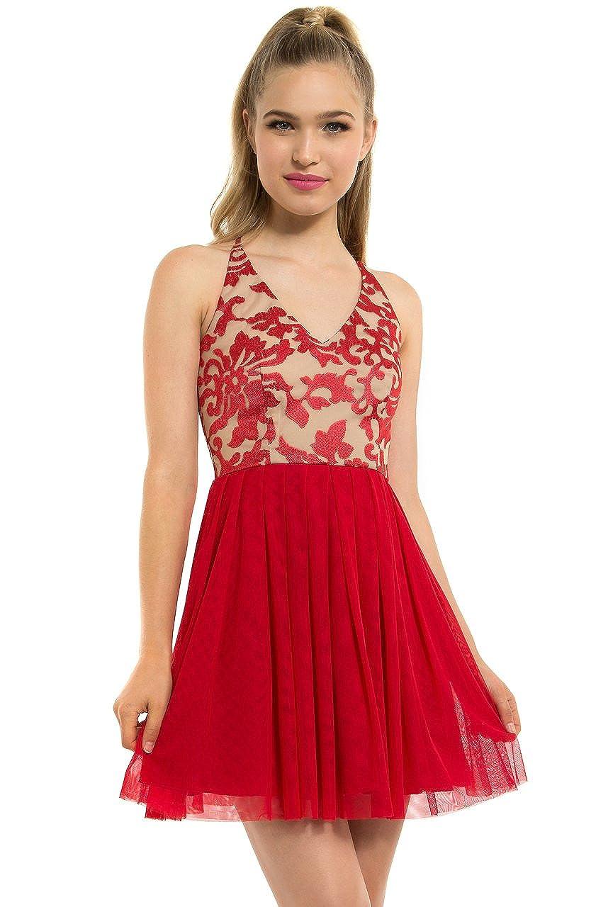 279fbbf90b Amazon.com  Teeze Me Juniors Sleeveless V Neck Cross Back Floral  Embroidered Dress 3  teeze me  Clothing