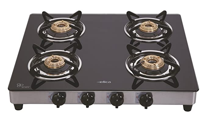 Elica Gas Stove 594 Ct Vetro - Black Gas Stoves at amazon
