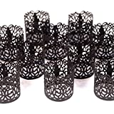 Frux Home and Yard FLAMELESS Tea Light Votive Wraps- 48 Black Colored Laser Cut Decorative Wraps Flickering LED Battery Tealight Candles (not Included)