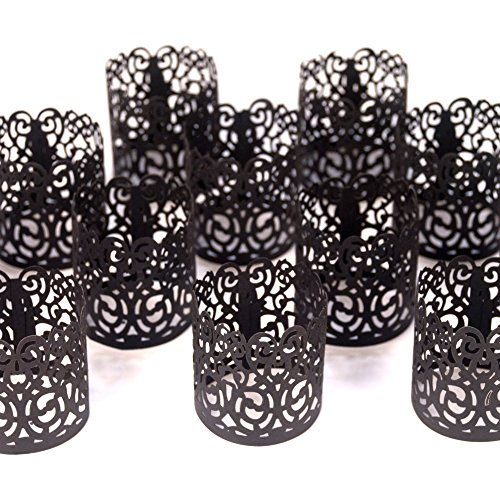 - Frux Home and Yard FLAMELESS Tea Light Votive Wraps- 48 Black Colored Laser Cut Decorative Wraps Flickering LED Battery Tealight Candles (not Included)