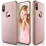 iPhone X Case, LOHASIC [Premium Leather] Slim Fit Luxury PU Soft Flexible Hybrid Anti-Slip Grip Scratch Resistant Full Body Shockproof Protective Cover Cases for Apple iPhone X - [Rose Gold]