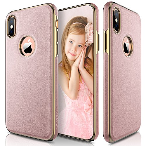 (LOHASIC iPhone XS Case, iPhone X Case Slim Luxury Pink Soft Flexible PU Leather Anti-Slip Grip Scratch Resistant Protective Pretty Cover Girly Cases for iPhone X 10 XS New Version (2018) - [Rose Gold])