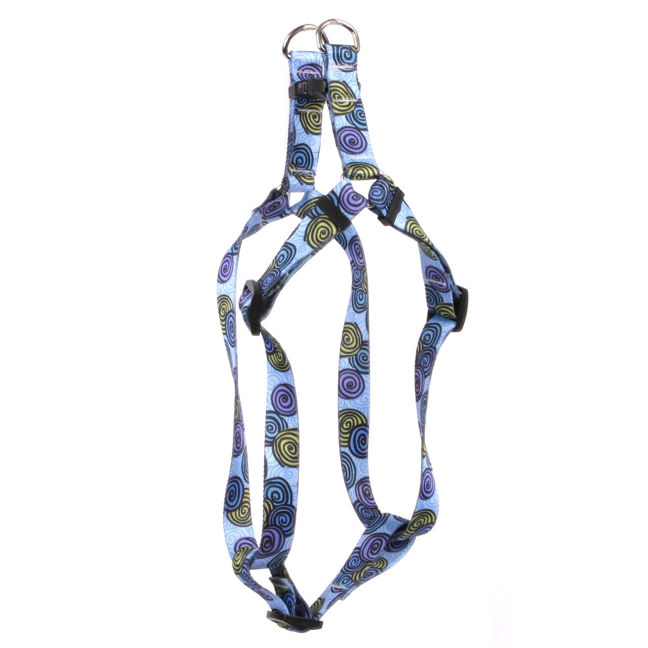 Yellow Dog Design Standard Step-in Harness, Spiral Blue, Large 25'' - 40''