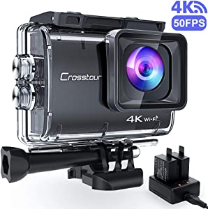 Crosstour CT9500 Native 4K50FPS Action Camera 20MP WiFi Waterproof Camera Underwater 40M with EIS, 2x1350mAh Batteries and Accessories Kit