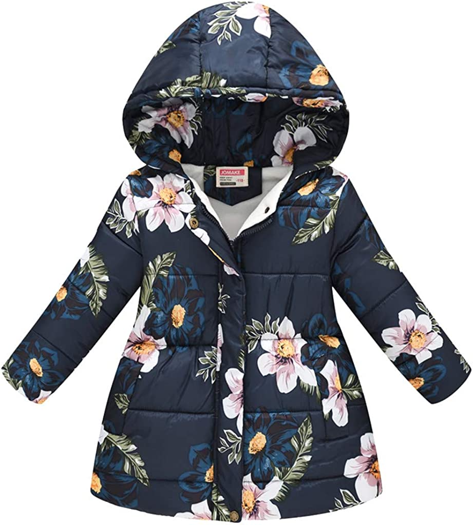 Diufon Winter Warm Coat Toddler Baby Girls Boys Long-Sleeved Floral Print Long Hooded Cotton Windproof Outwear Jacket