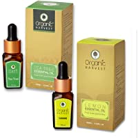 Organic Harvest Combo of Tea Tree Essential Oil (10ml) and Lemon Essential Oil (10ml), ECOCERT & PeTA Certified, Paraben & Sulphate Free