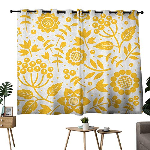 bybyhome Yellow Flower Grommets Home Darkening Curtains Rustic Composition with Berries Twigs Graphic Flora Nature Leaves Pattern Set of 2 Panels Yellow White W108 x L72 ()
