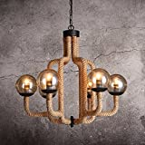 HQLCX Chandelier Country Hemp Glass Chandelier Iron Loft Industrial Wind Cafe Pendant 650X600Mm