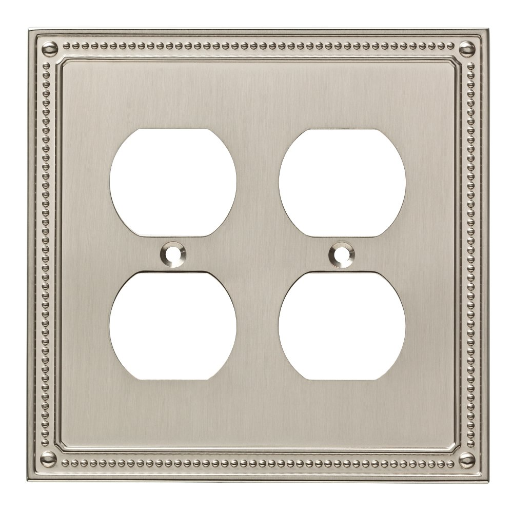 Franklin Brass W35064-SN-C Classic Beaded Double Duplex Wall Plate/Switch Plate/Cover, Satin Nickel