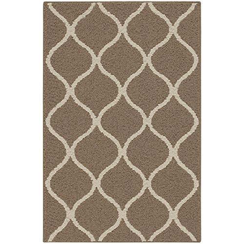 - Maples Rugs Kitchen Rug - Rebecca 2'6 x 3'10 Non Skid Small Accent Throw Rugs [Made in USA] for Entryway and Bedroom, Café Brown/White