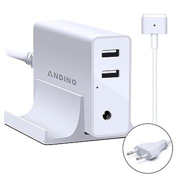 Adaptador de corriente Magsafe 2 Cargador de T- Forma, Andino 60W Adaptador para Ordenador portátil Apple MacBook Pro 13 Pulgada, 2 puertos USB para ...