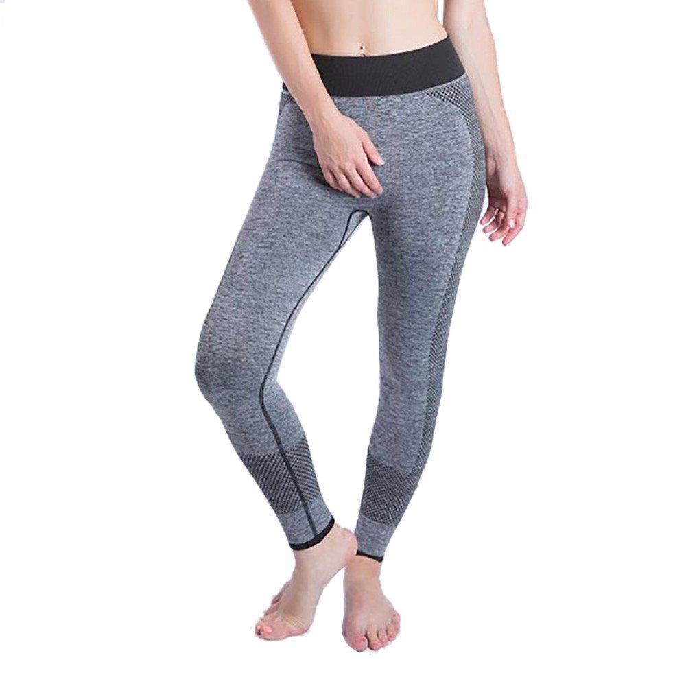 iLUGU Women Gym Yoga Patchwork Sports Running Fitness Leggings Pants Athletic Trouser(S,Gray-2)