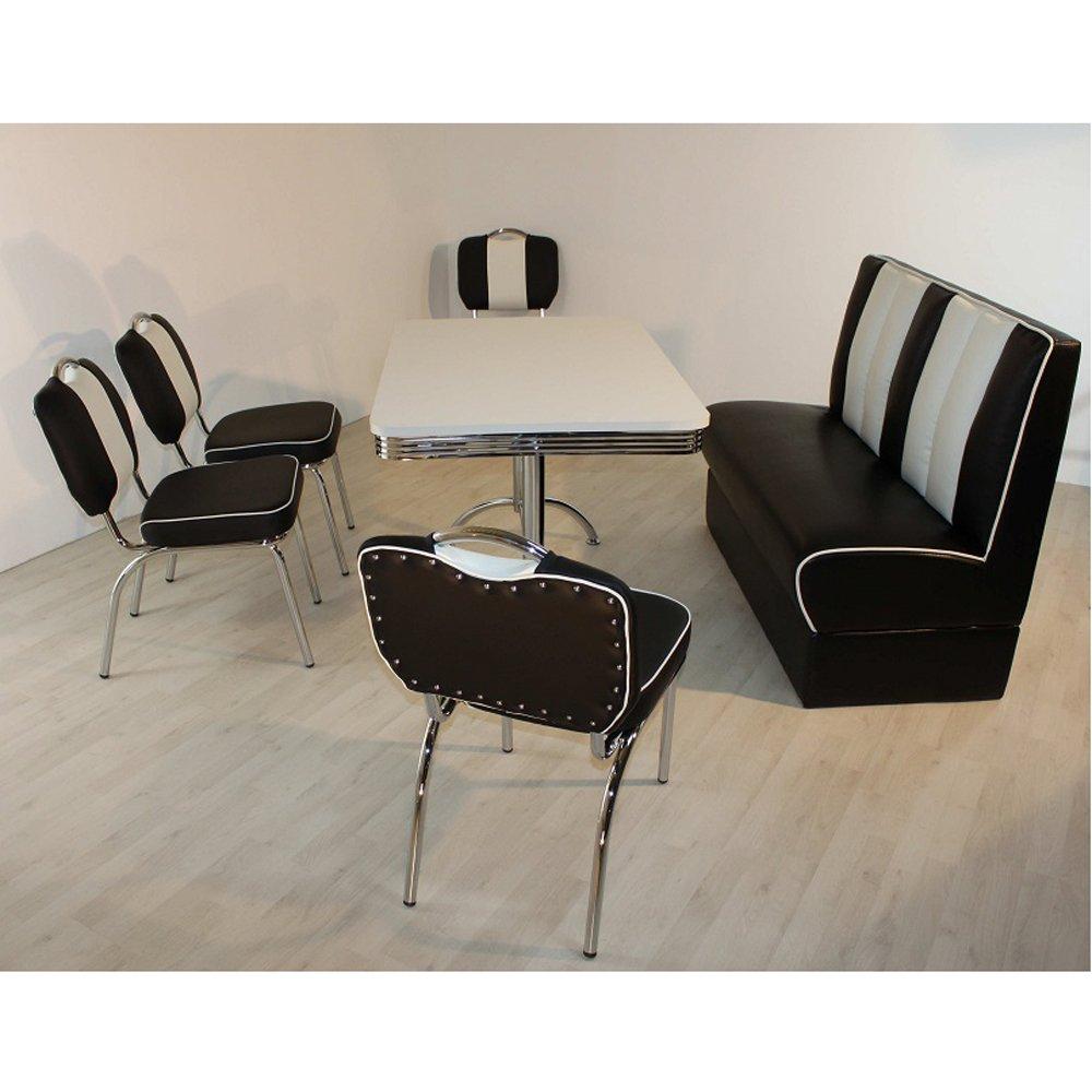 Polsterbank Stuhlgruppe LEWIS schwarz weiß Bank American Diner Tisch Stühle Bistrostühle