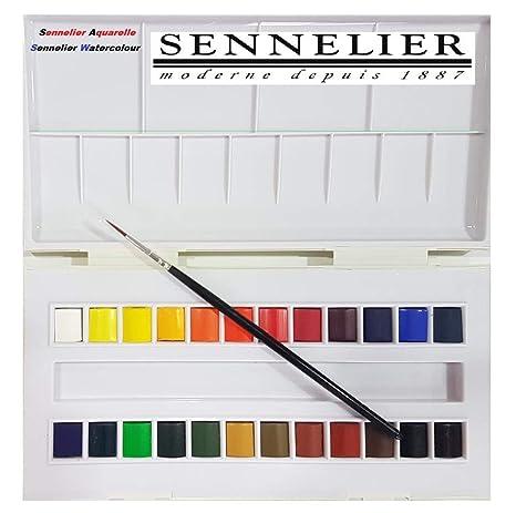 Set studio de acuarela, 24 medio godets,Caja de pintura de acuarela plástica Sennelier