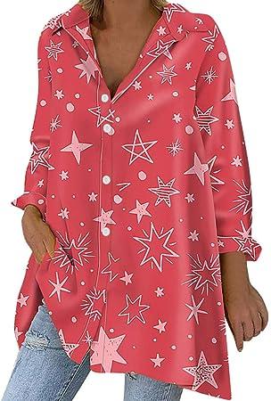 ღLILICATღ Camisas Mujer Largas Camisetas Mujer Verano Tops Mujer Primavera Camisetas Mujer Largas Camisetas Mujer Manga Larga Impresión Tallas Grandes Mujer Fiesta Blusas Mujer Fiesta: Amazon.es: Hogar