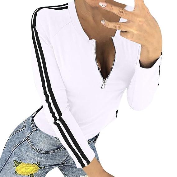 Rovinci☆Camisas de Mujer Spring Solid Sexy Ladies Zipper Apertura O-Cuello Rayas Camisetas de Manga Larga Tops Blusas: Amazon.es: Ropa y accesorios