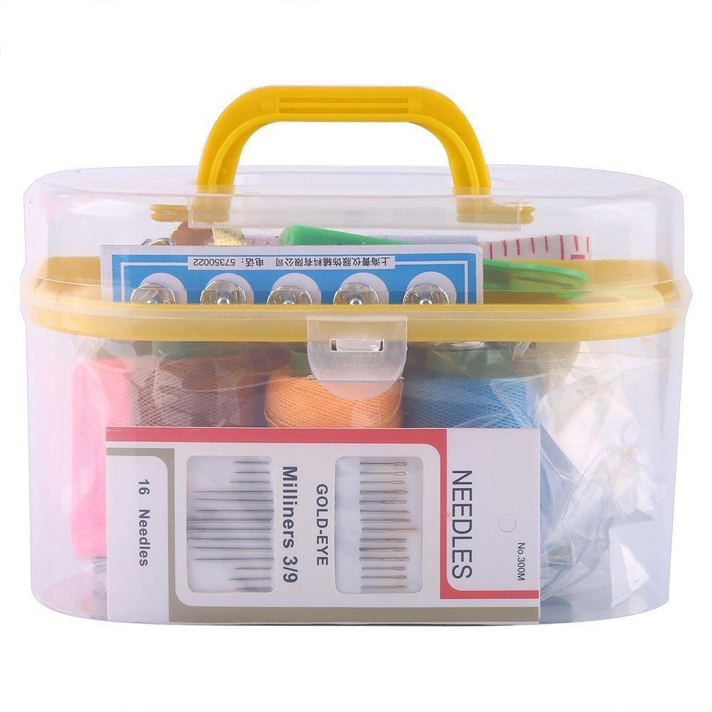10個/ボックスLarge Sewing Box ThreaderニードルテープメジャーScissor Thimbleキットツール Walfrontfuoqn5dvag-02  イエロー B0774RJFTL