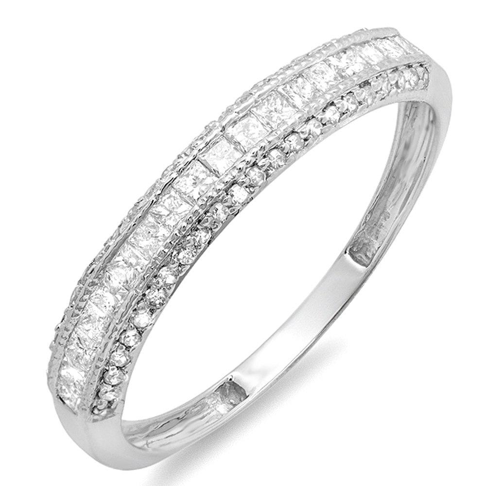 0.45 Carat (ctw) 14k White Gold Princess & Round Diamond Ladies Anniversary Wedding Matching Band Stackable Ring (Size 6)