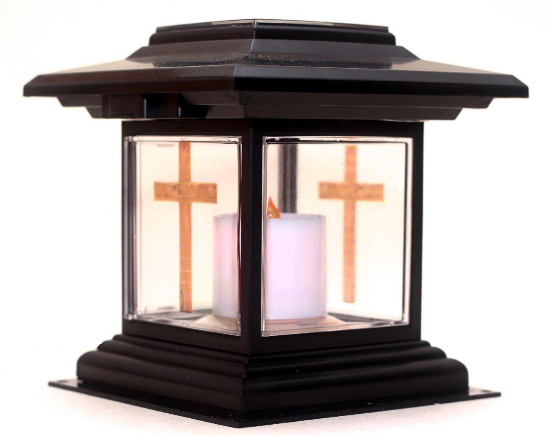 Christian Faith Solar Memorial Light, Best LED Candle Indoor/Outdoor Solar Light For Home, Garden & Cemetery. Solar Grave Lantern Light