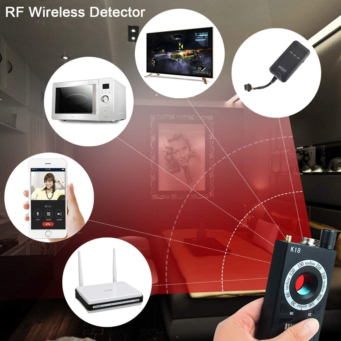 Magnetic Field GPS Locator Bug Detector,Wireless Bug Detector,Updated Version of CC308+ Hidden Camera Detector,Anti Spy Detector for RF Signal Detector,GSM Tracking,Camera Finder