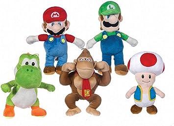 SUPER MARIO Bros - Pack 5 Peluches Mario Bros (33cm) Luigi (35cm ...
