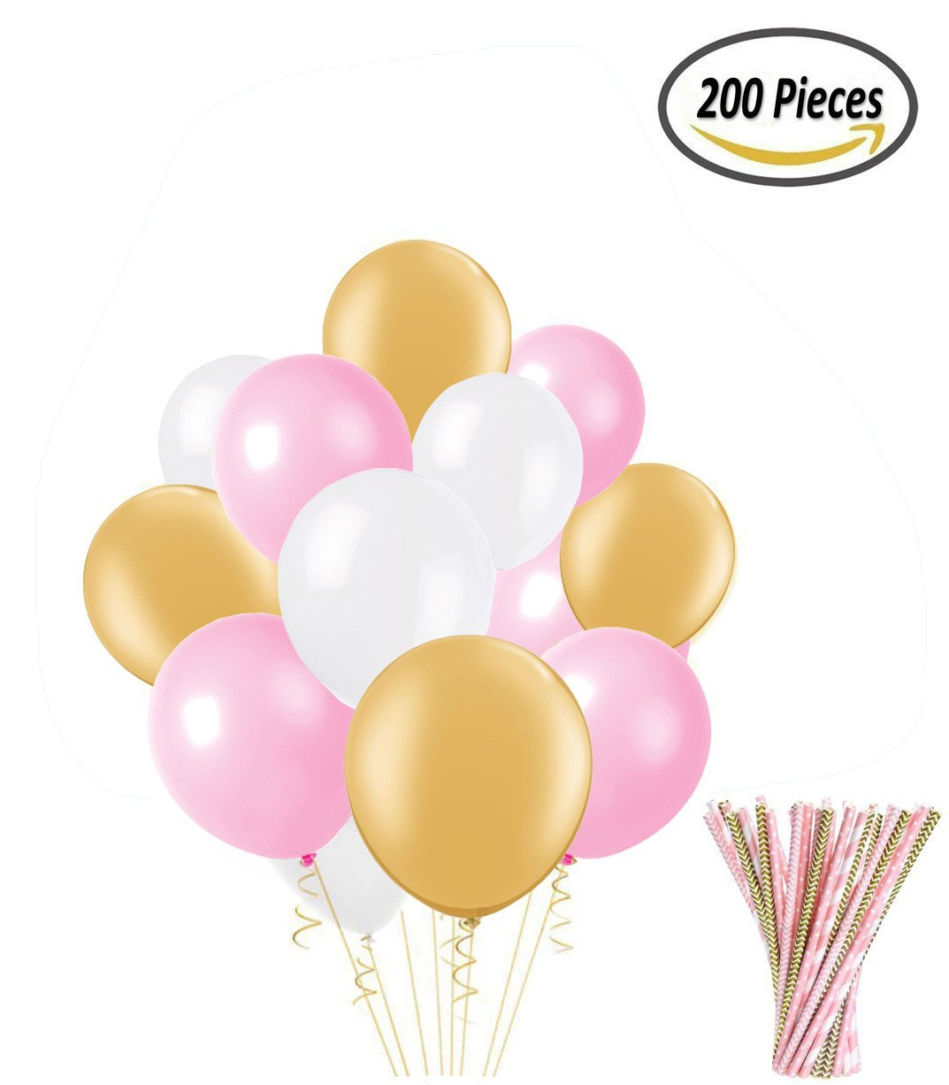200 Pcs Pink and Gold Latex Party Balloons and Paper Straws for Birthday Wedding Party Decorations