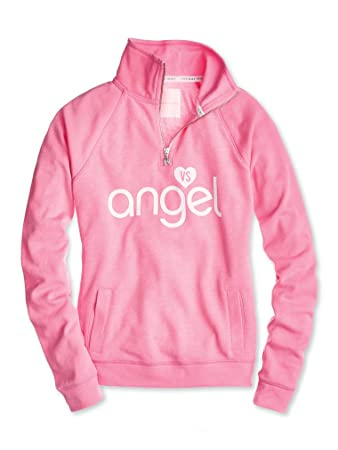 5f1690ee71abc Amazon.com: Victoria's Secret Graphic Fleece Half Zip Pullover Angel ...