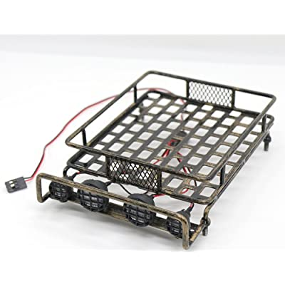 WishRing RC 1:10 Roof Luggage Rack LED Light Bar Wrangler Tamiya CC01 SCX10 Axial 516 (Coppery): Toys & Games