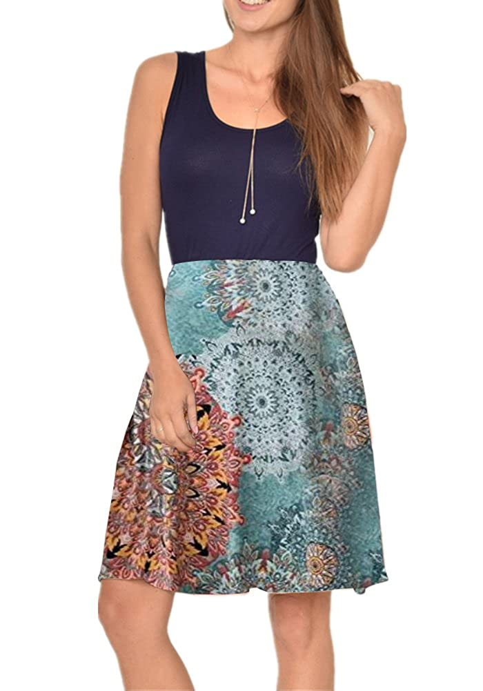 bluee Poulax Women Casual Sleeveless Striped Print Swing Mini T Shirt Tank Dress with Pockets
