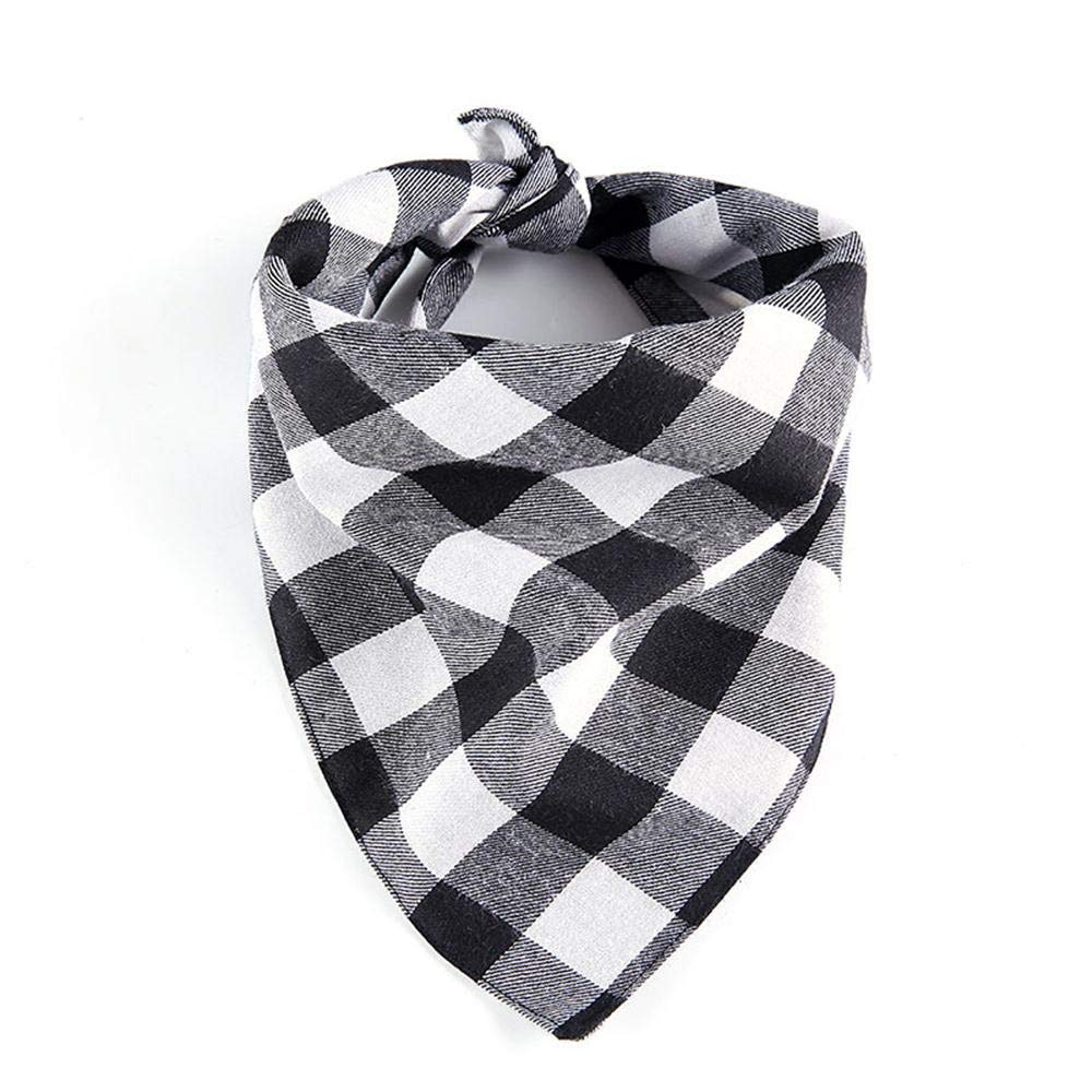 OOEOO Dog Bibs, Pet Saliva Towel Bandana Scarf,Plaid Print Kerchief(B,Free)