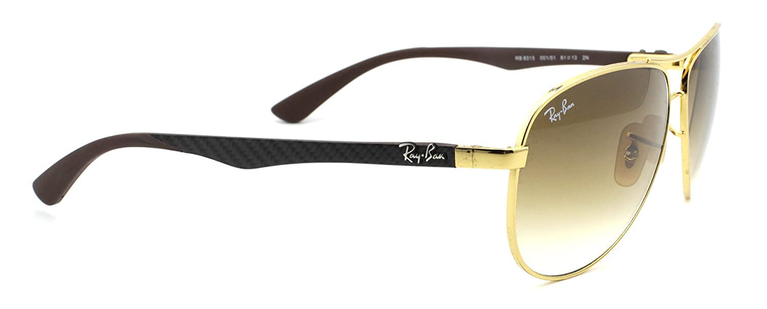 b3f8f0fa1507b Amazon.com  Ray-Ban RB8313 Carbon Fibre Aviator Unisex Sunglasses (Gold  Frame Light Brown Gradient Lens 001 51, 61)  Clothing