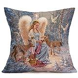 Chenway Merry Christmas Linen Pillow Case,Hidden Zipper Cushion Decoration CaseCover for Sofa Livingroom Home Decor (E)