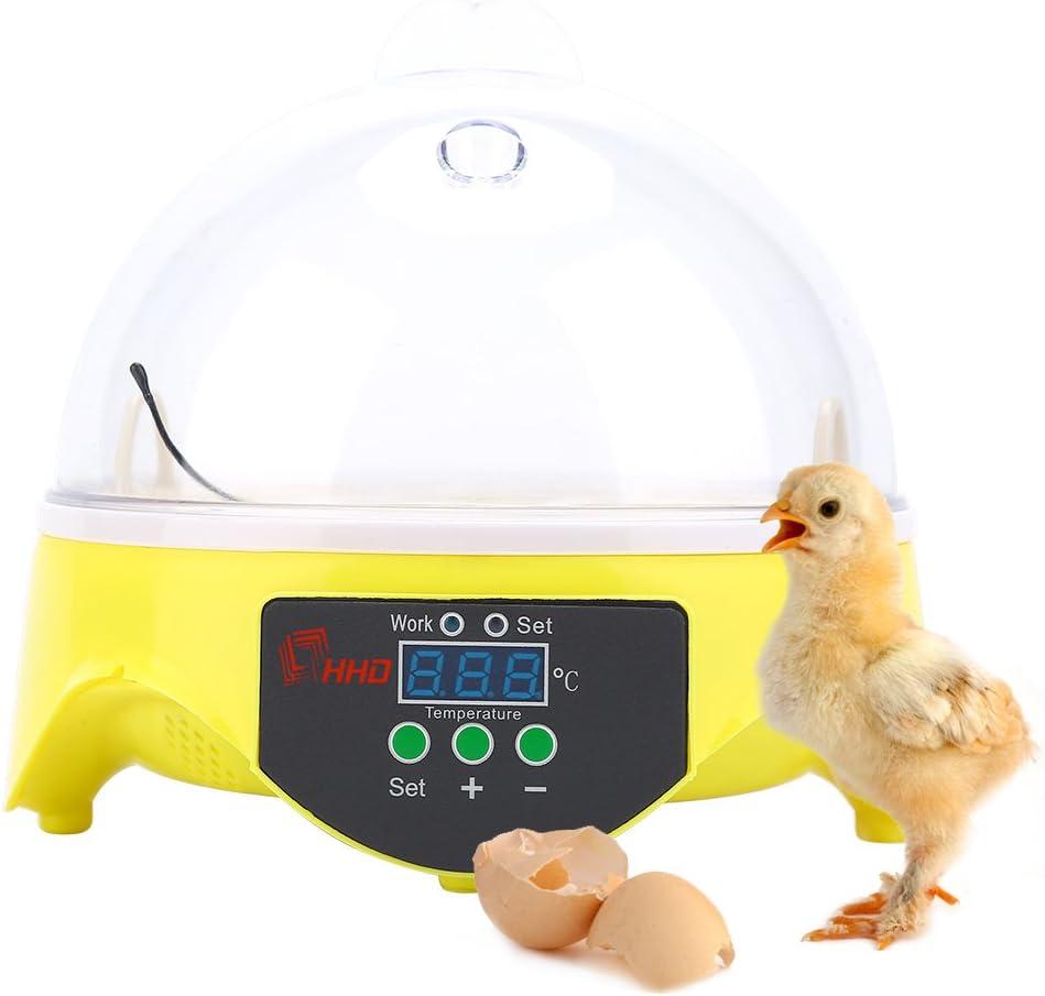 SOULONG Incubadora automática para 7 Huevos con Control de la Temperatura Digital para Aves, Pollos, Patos y codornices, la incubación de los Huevos de Granja