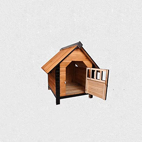 Lijin pet house Perro de criadero de Madera Mediana casa de Perro de Madera Maciza pequeño