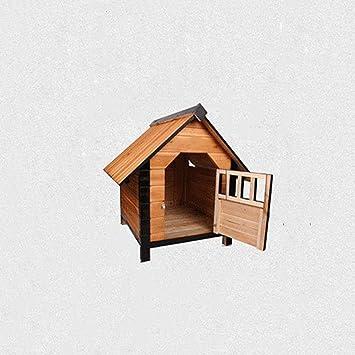 Lijin pet house Perro de criadero de Madera Mediana casa de Perro de Madera Maciza pequeño ...